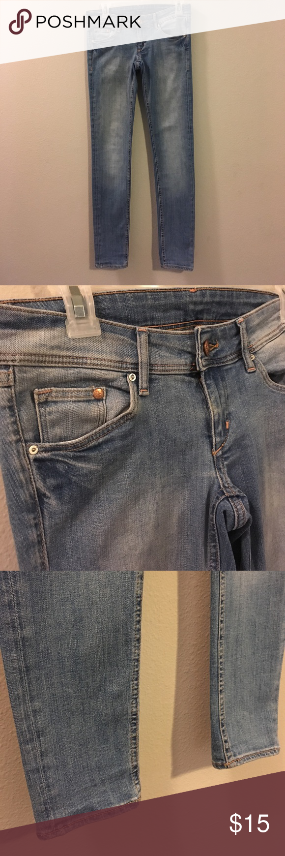 "H&M Super Skinny Low Rise Light Wash Denim Jeans H&M's Super Skinny Leg 5 pocket, low-rise jeans in washed superstretch denim with intentional fade down the legs. In excellent condition! Inseam 30"" H&M Jeans Skinny"