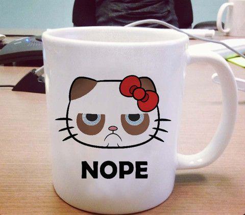 Hello kitty grumpy cat nope Ceramic Mug #ceramic mug #mug #funny mug #coffee mug #custom mug