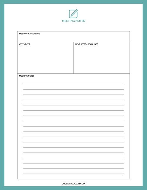 Meeting Notes Printable | Made with Love by @collettelazor | Work ...