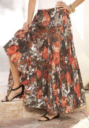 Roamans Plus Size Bold Rose Print Skirt $59.99
