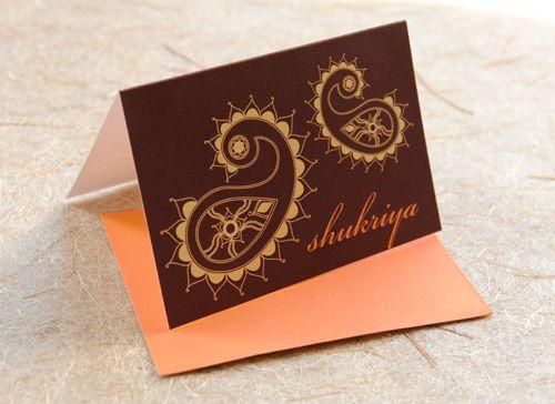 Paisley thank you card (Shukriya - Hindi) Thank You Cards - fresh formal invitation letter in hindi
