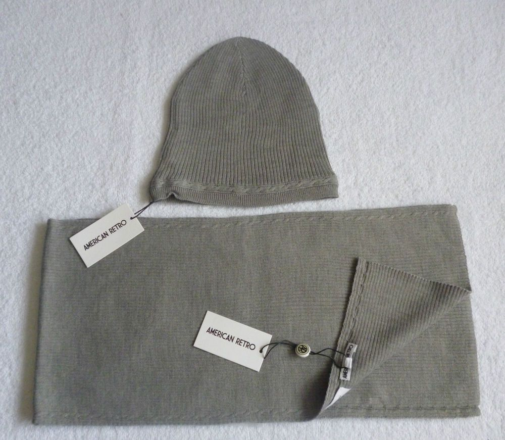 American Retro Lady Girl Boy Men Designer Knit Long Wool Scarf and Hat Gift Set