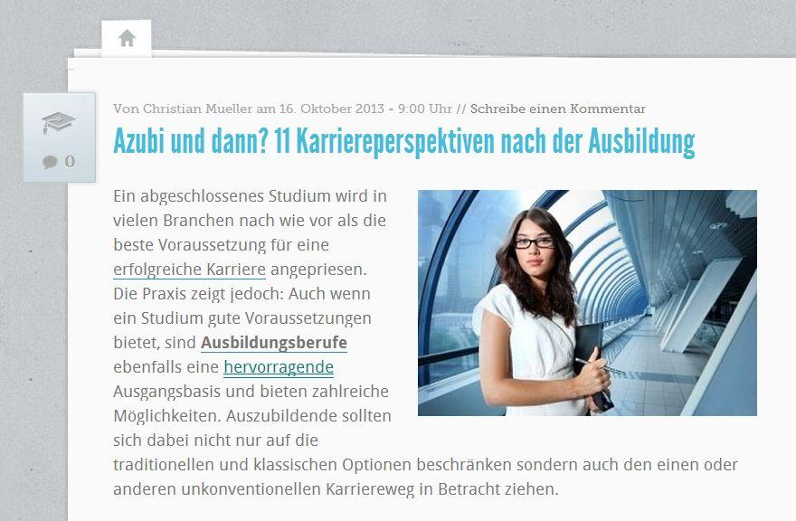11 Karriereperspektiven für Azubis Quelle: http://karrierebibel.de/azubi-und-dann-11-karriereperspektiven-nach-der-ausbildung/