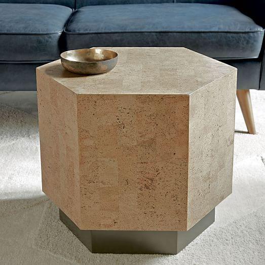 Geo Hex Side Table Cork Side Table Geometric Side Table Cork Table
