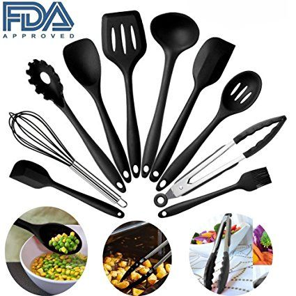 Silicone Kitchen Utensils Set, 10 Pieces Silicone Cooking U0026 Baking Tool Sets  Non Toxic