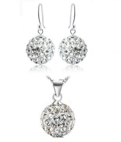 Bridal Jewelry Sets Wedding Necklace Earrings Simulated Diamond Crystal Women Cheap Costume Set