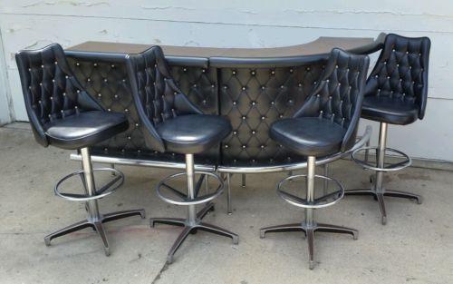 Vintage Mid Century Modern Bar Chromcraft 4 Barstools Black Diamond Naugahyde Black Bar Stools Mid Century Modern Bar Modern Bar