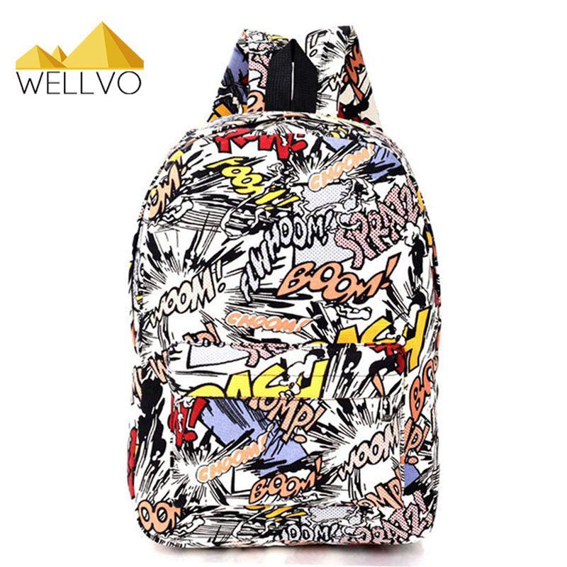 Graffiti Canvas Backpack Students School Bag For Teenage Girls ...