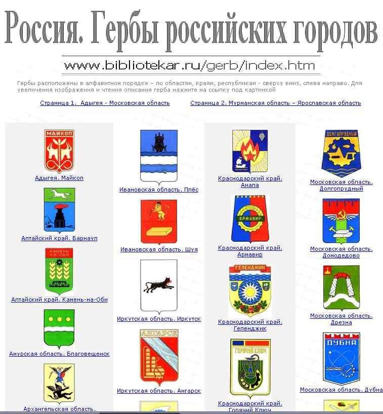 все гербы россии и их названия и фото различных услуг, товаров