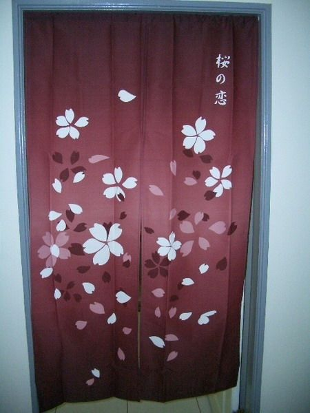 I like how the curtain is right in between the door like a bathroom ...