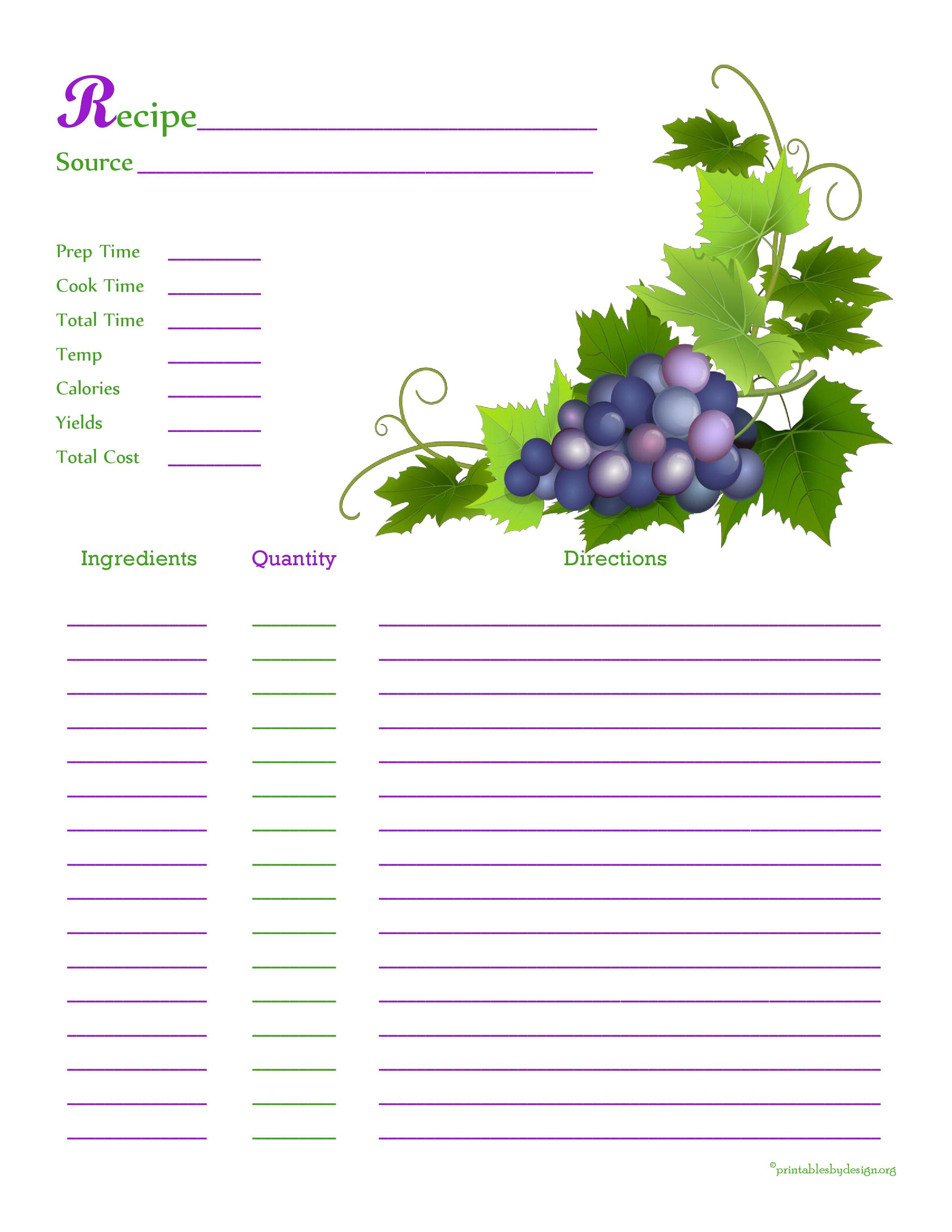 grapes from the vine recipe card