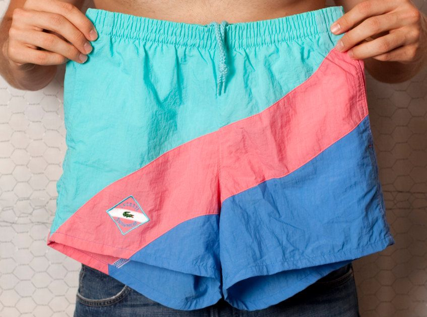 Awesome Lacoste Swimwear 80s Swim Trunks - S   Clothing, hair ... 7f9a92e8d5e