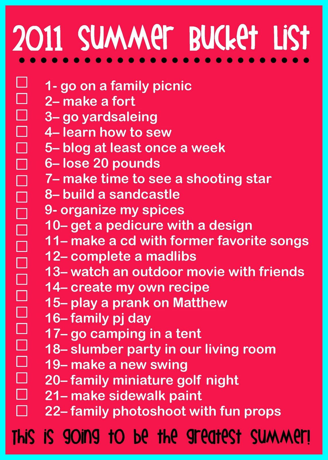 The Rollins Family Summer Bucket List