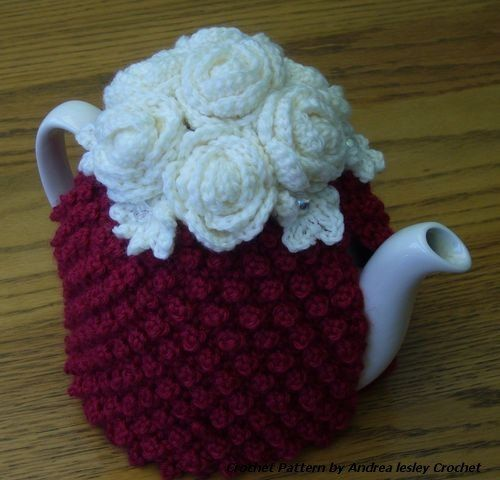 Pattern For Crochet Tea Cosy With Roses By Andrealesleycrochet Pot