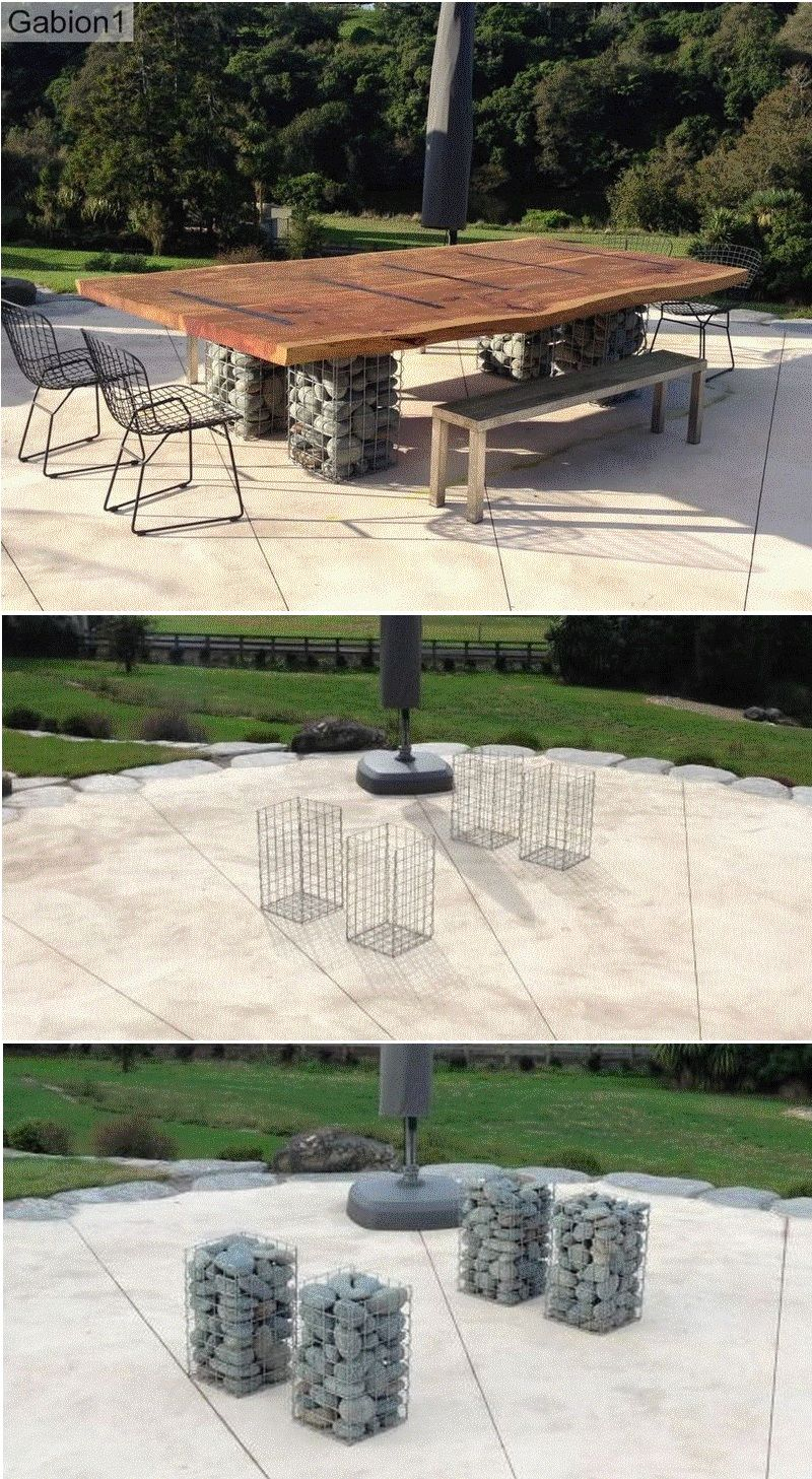 Pleasant Gabion Outdoor Dining Table In 2019 Gabion Ideas Wood Download Free Architecture Designs Grimeyleaguecom