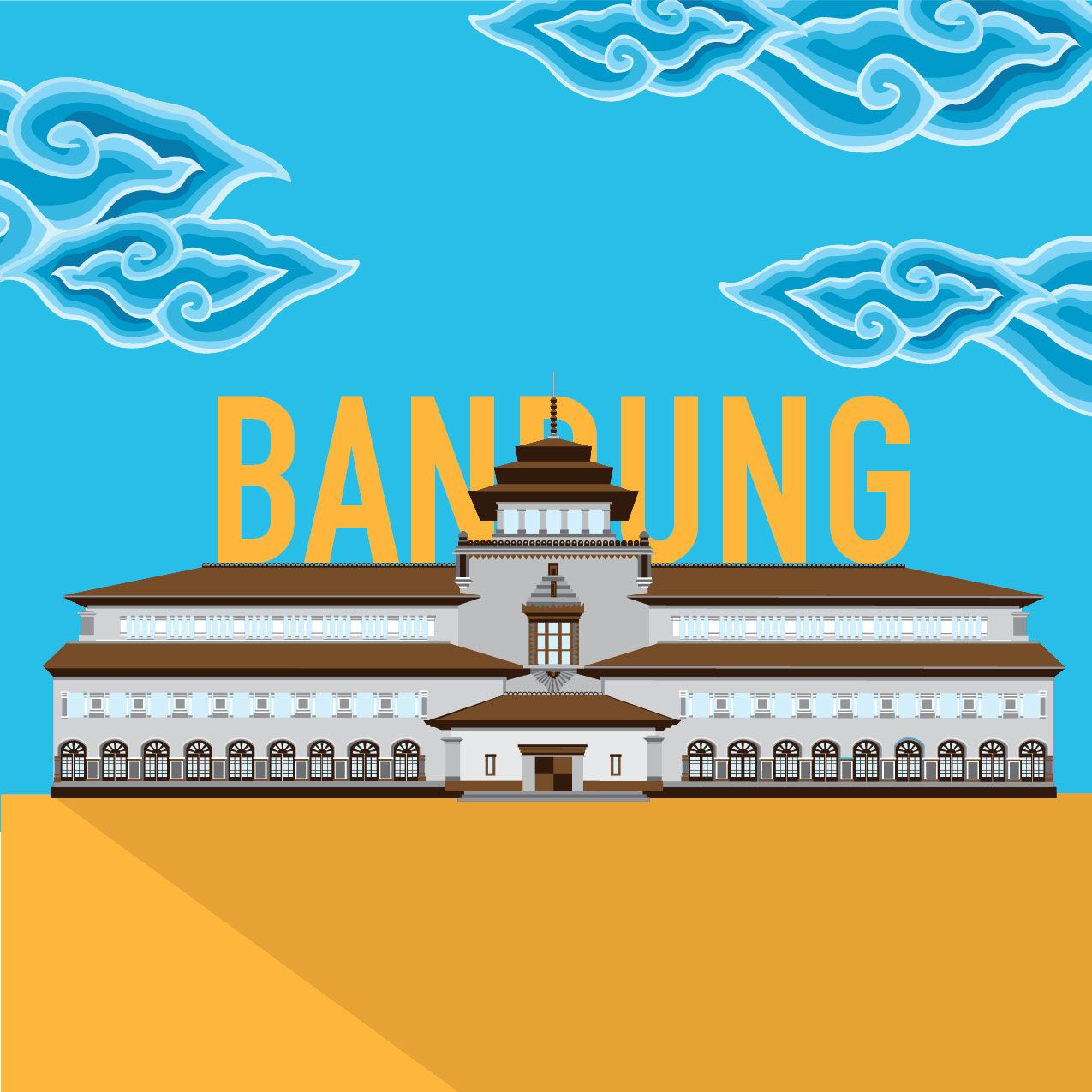 Gedung Sate Vector Graphic Illustration Ilustrasi Siluet