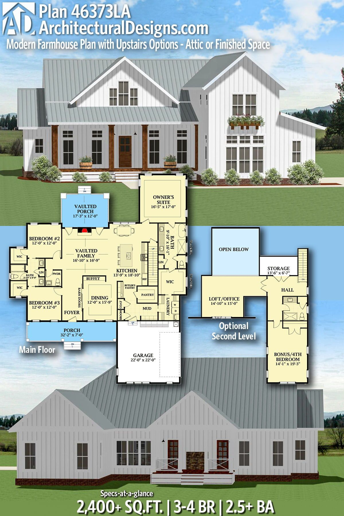 Plan 46373la Modern Farmhouse Plan With Upstairs Options Attic Or Finished Space Farmhouse Plans House Plans Farmhouse Modern Farmhouse Plans
