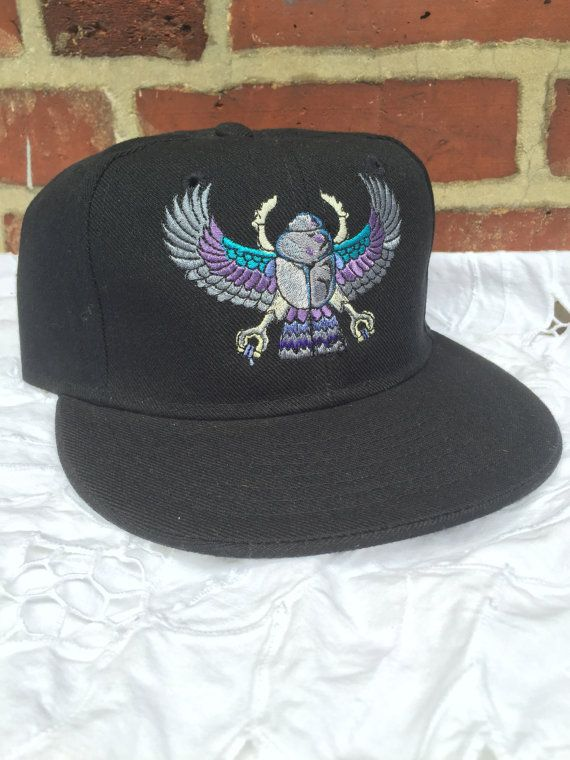 Egyptian scarab embroidered fitted hat custom by PennyRoseDesign13