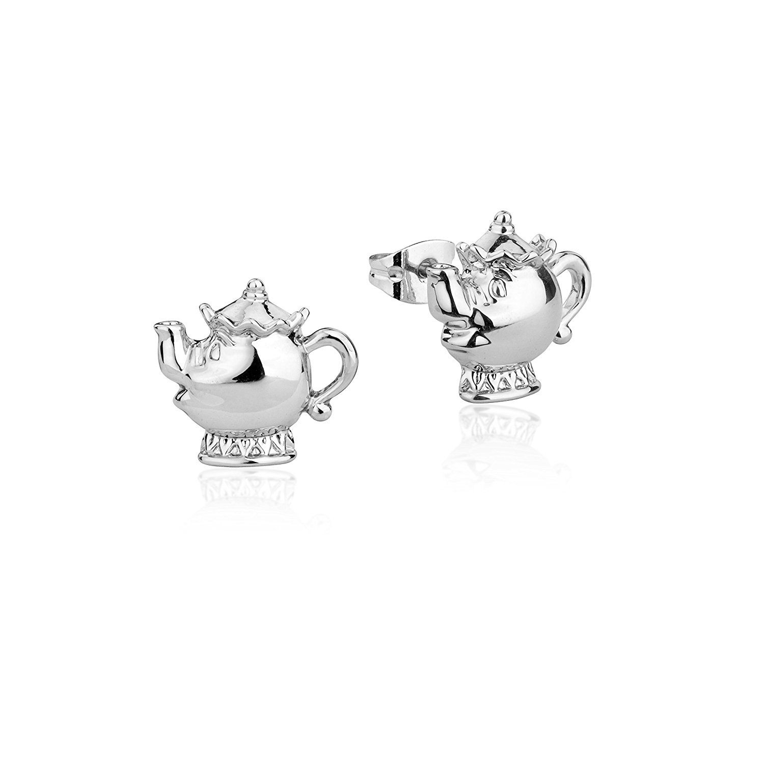 Disney Couture Beauty & the Beast White Gold-Plated Lumiere Candle Stud Earrings CoUcXM