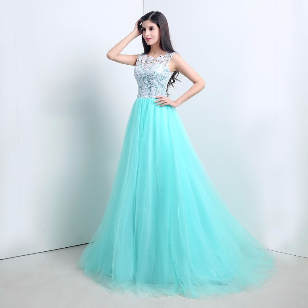 Click to Buy << 2017 In Stock Cheap Teal Blue Ball Gowns O Neck ...