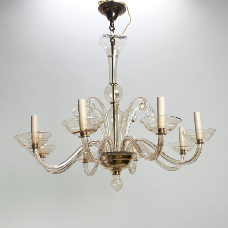 Circa Murano Chandelier In Hand N Pale Amber Gl With Eight Arms And Candle Style Lights Shaft Br Ceiling Cap