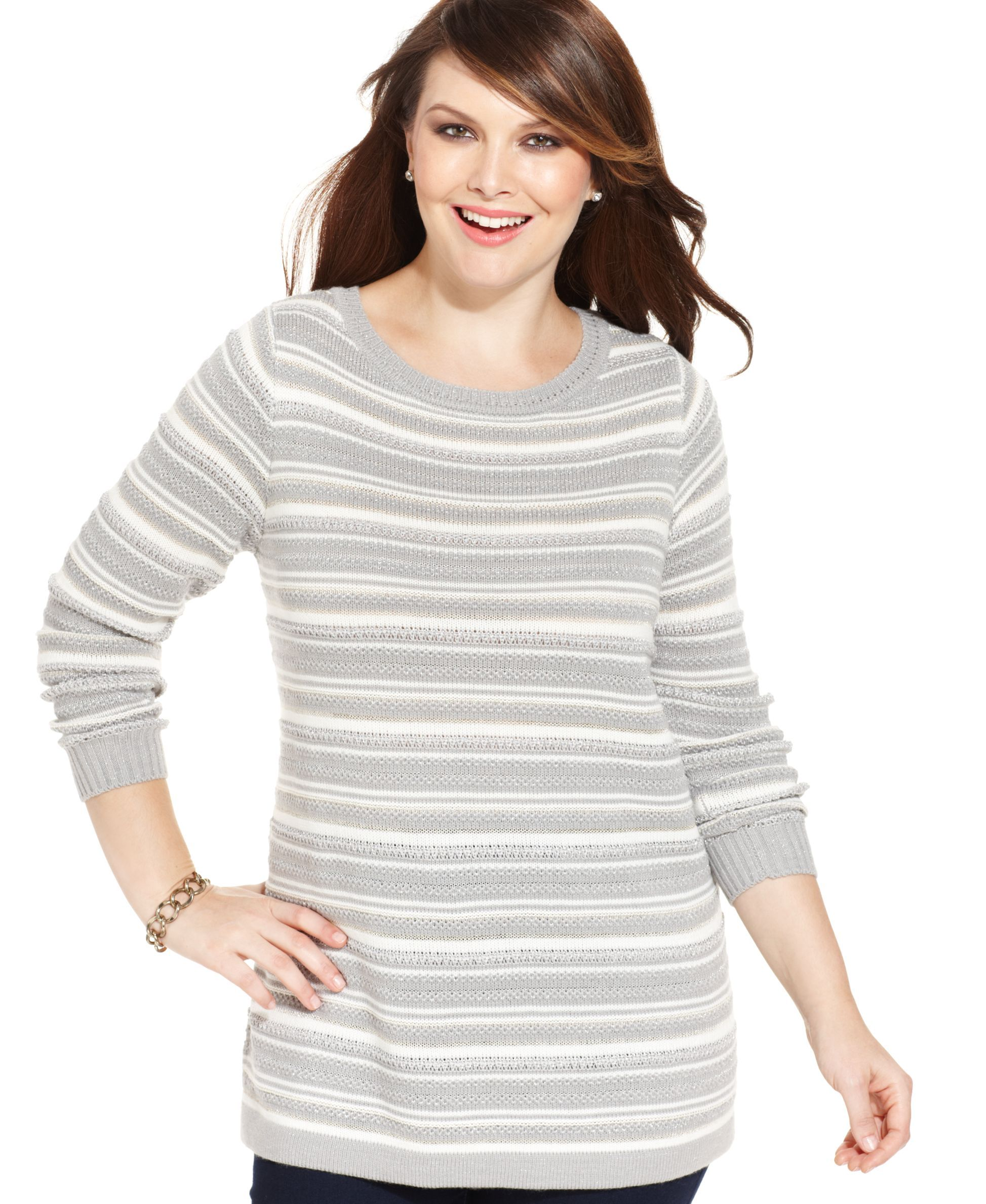 Charter Club Plus Size Striped Tunic Sweater | Products ...
