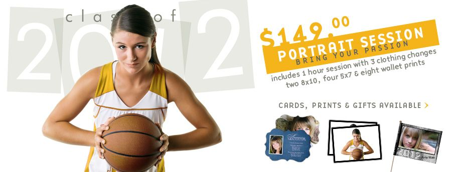 Class of 2012 portraits. $149.00 includes one hour long photo session, two 8x10's,  four 5x7 and eight wallet photo prints.