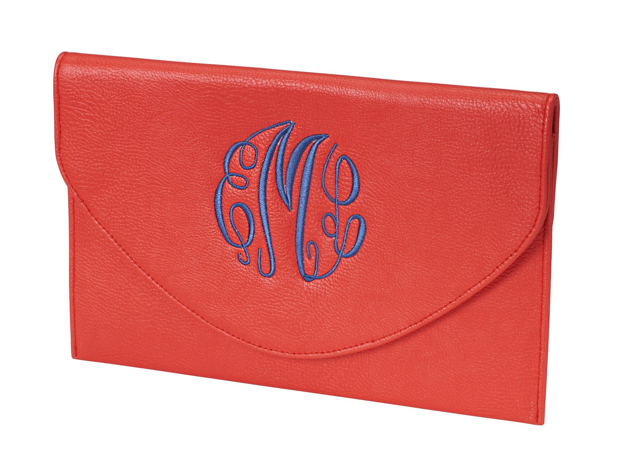 Monogrammed Coral Clutch Cross-Body Wristlet Purse - Personalized