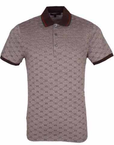 9841998b0 New Gucci Men's 190181 Brown GG Logo Web Trim Cotton Slim Fit Polo Shirt  Small