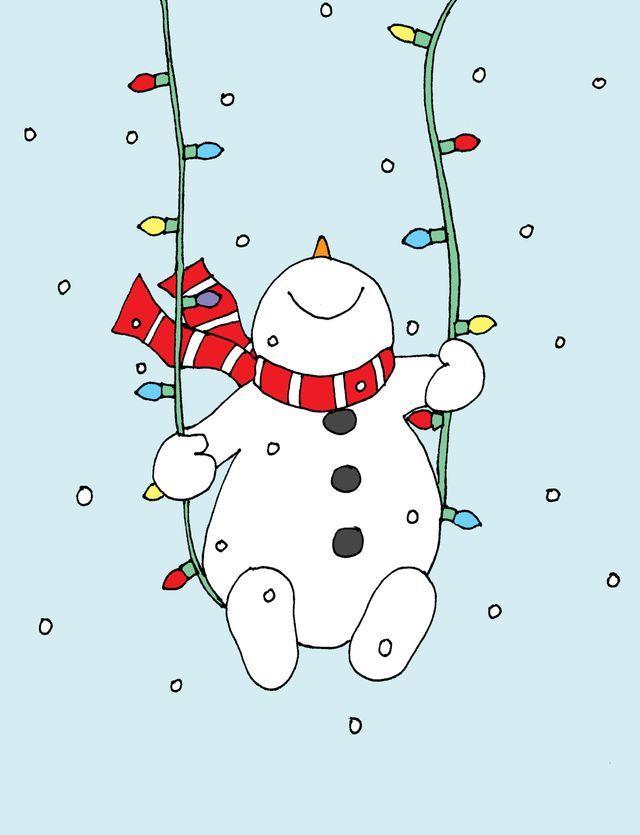 Snowman Christmas Lights Swing Free Dearie Dolls Digi Stamps