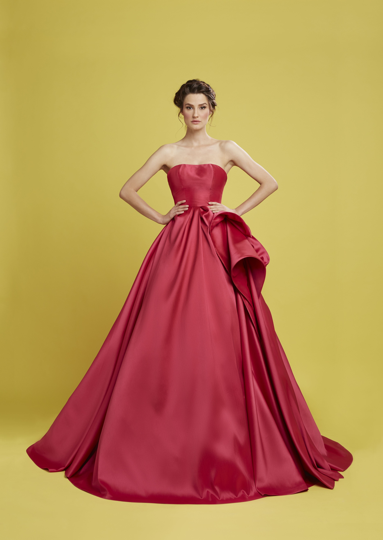 Spring Summer 2015 fuchsia faille ball gown with asymmetrical side ...