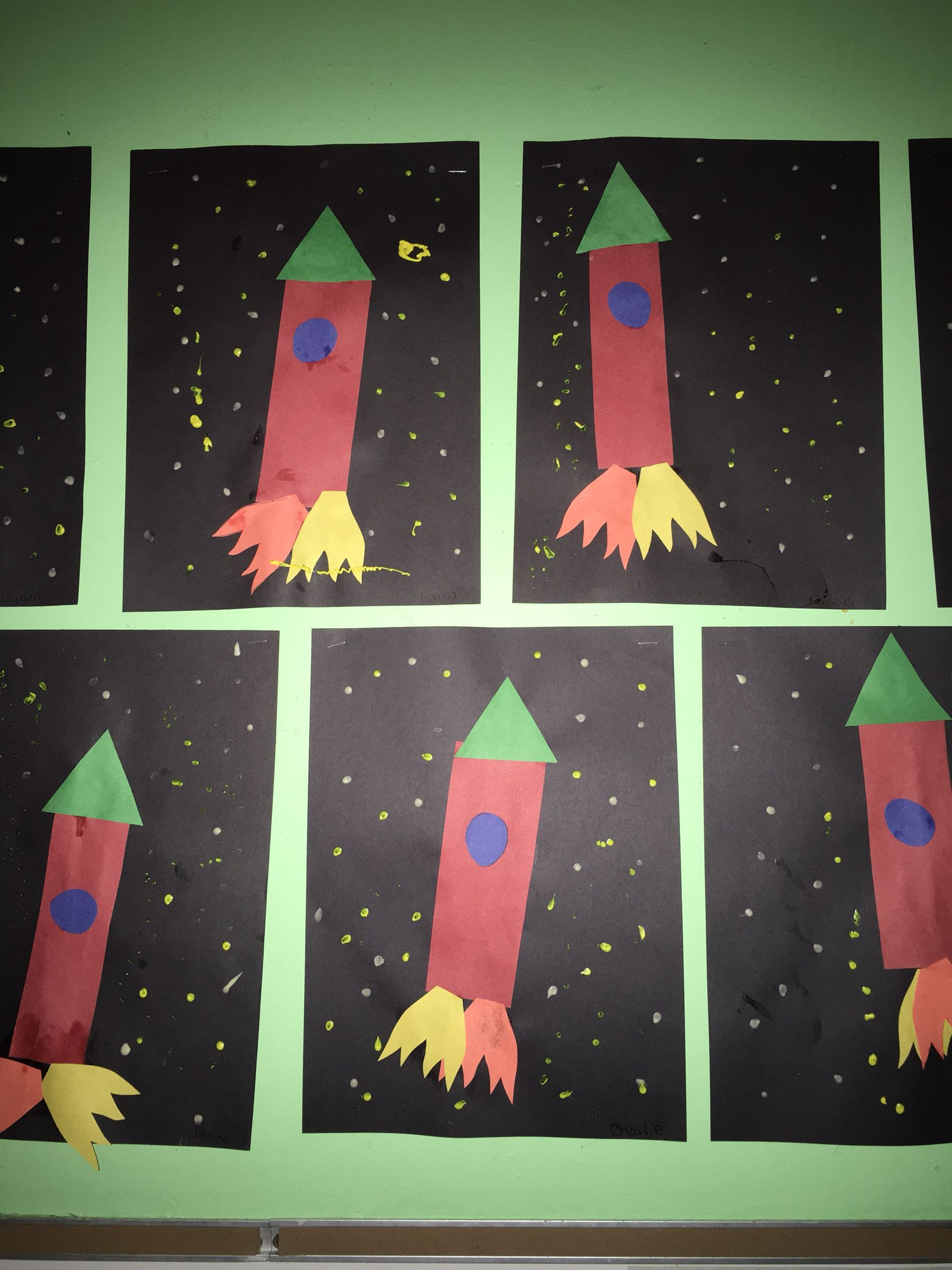 Construction Paper Rocket Ships