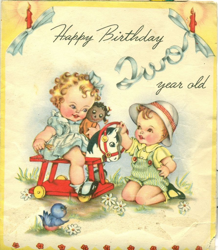 Happy Birthday Two Year Old My Grandson Logan Is Two Years Old Today Vintage Birthday Cards Vintage Greeting Cards Vintage Birthday