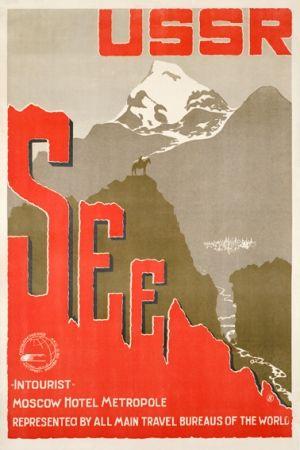 Intourist Moskau Hotel Metropol Trans-Siberian Railway Soviet Propaganda Poster