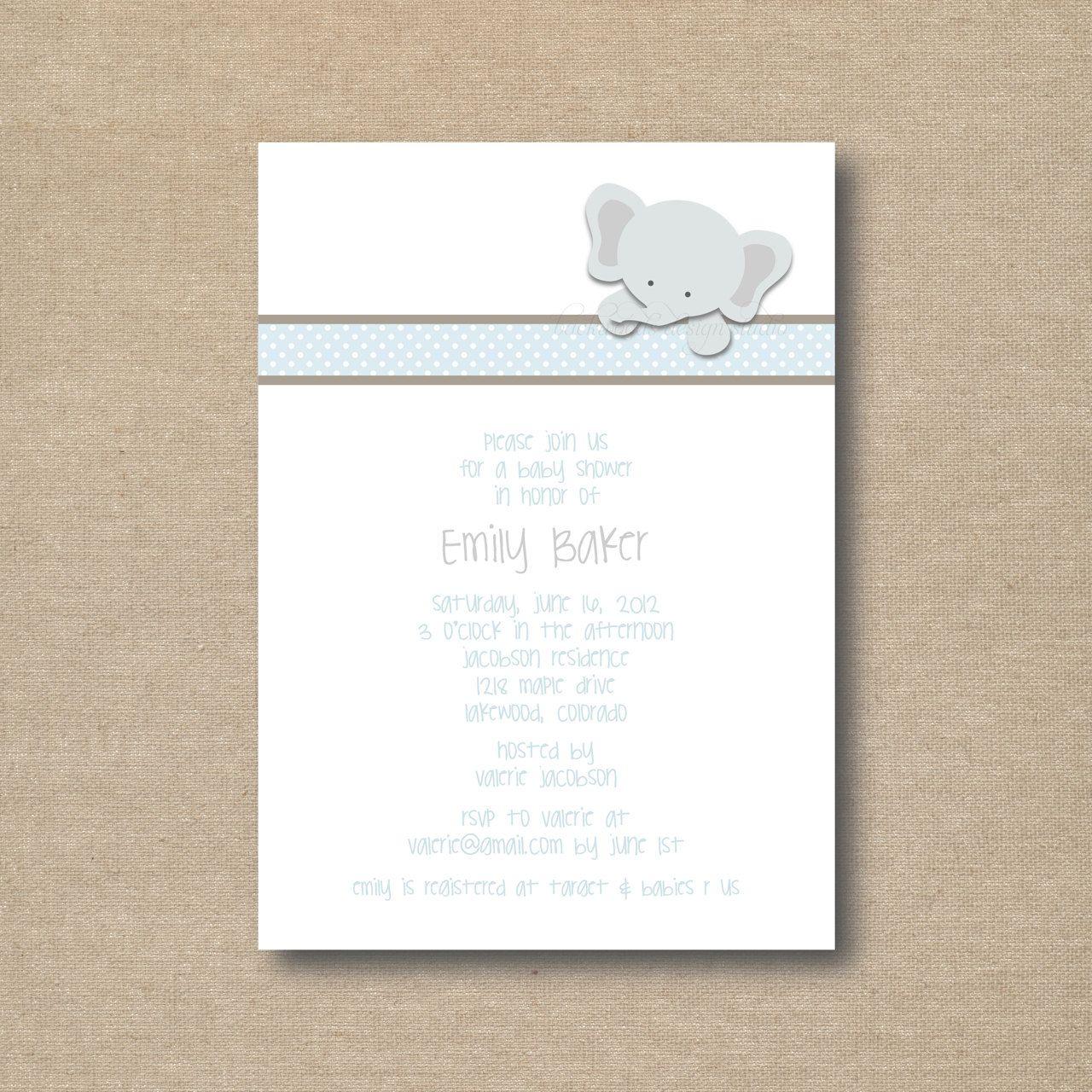 Little Elephant Baby Shower Invitations / printable. $15.00, via ...