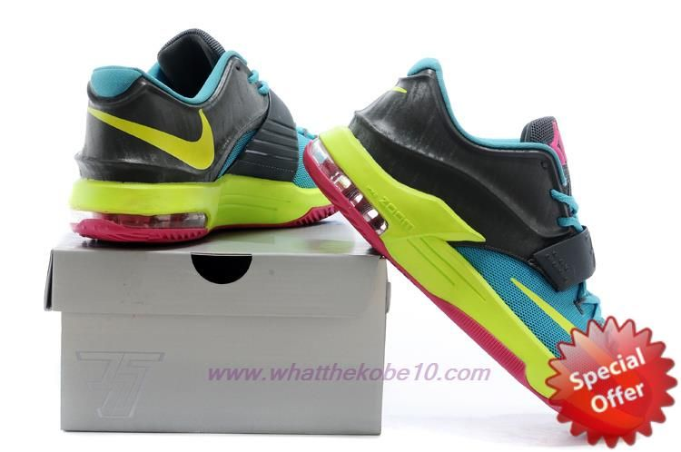 """Mens """"Carnival"""" Nike KD VII GS Black / Yellow / Blue / Red 669944-300 For Wholesale"""