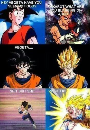 emotional feelings of goku when someone takes his food