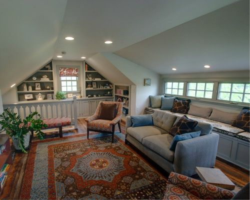 Attic Remodel Traditional Media Room With Images Attic Design Attic House Basement Remodeling