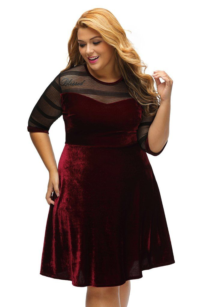 Robe Velours Rouge Grande Taille Maille Swing Femme MB61329-3 – Modebuy.com dbb7acc74db