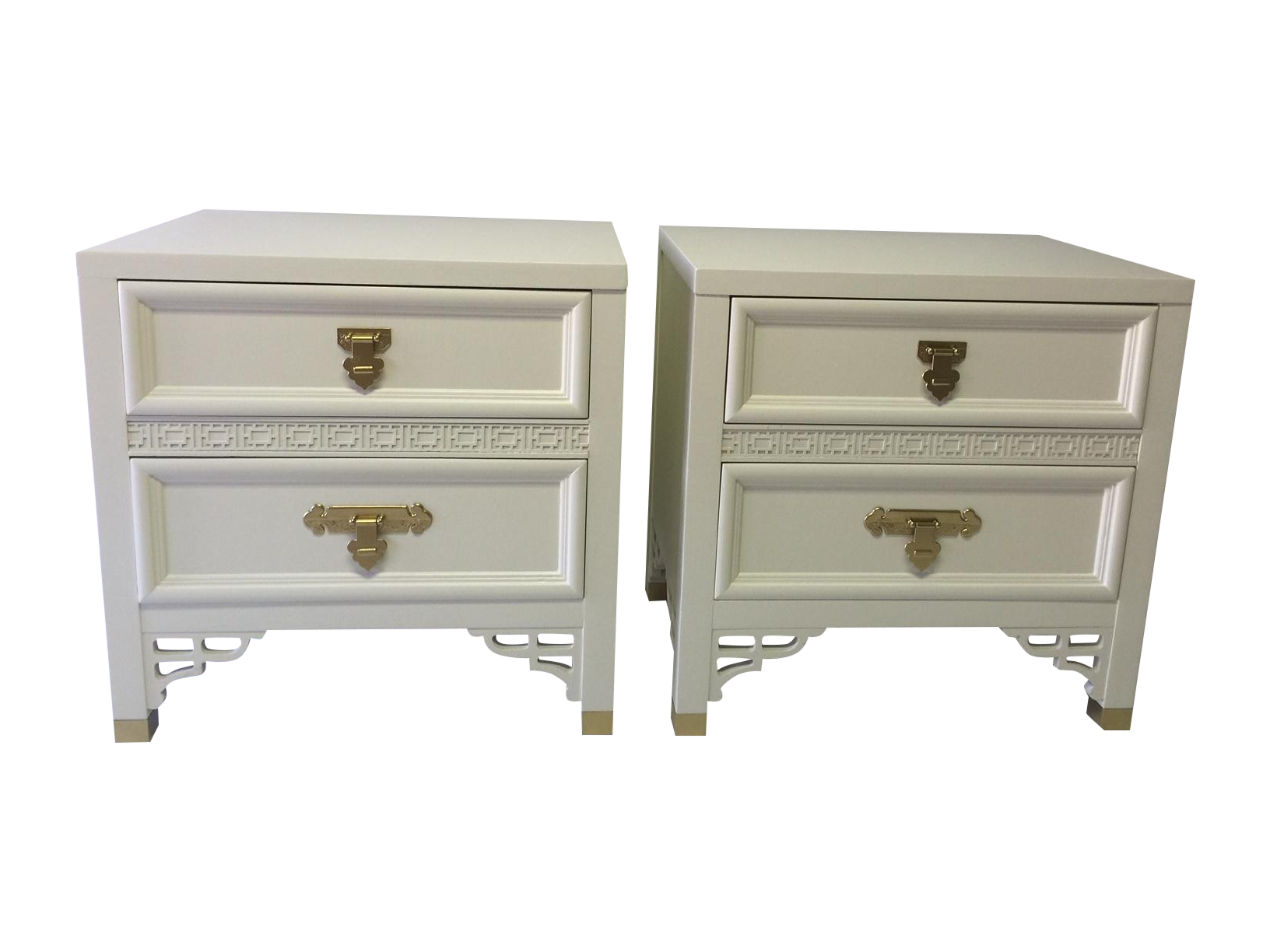 This gorgeous pair of Dixie Shangri-La nightstands has just been refurbished from top to bottom in a white satin finish lacquer. Perfect for bedroom, sunroom, or living room.