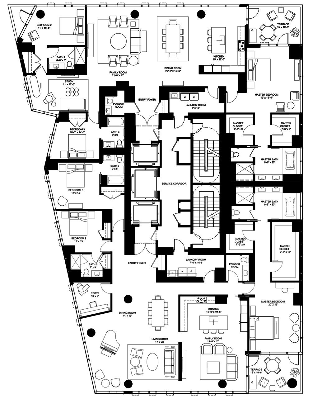 4 East Elm Chicago Penthouse Floor Plans Luxury Condo Apartment Plans