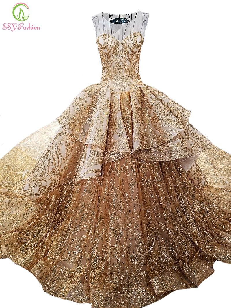 Ssyfashion new high end gold long evening dress luxury sequins bling