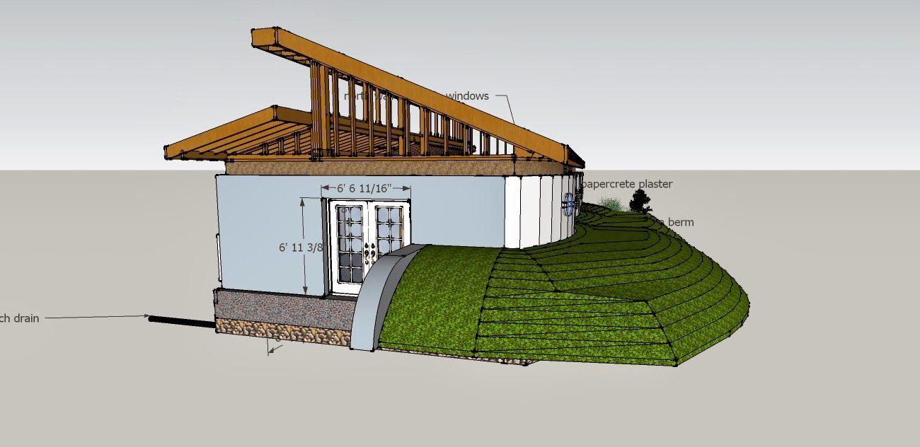 Earth bermed clerestory house icf pinterest earth for Modern berm house plans