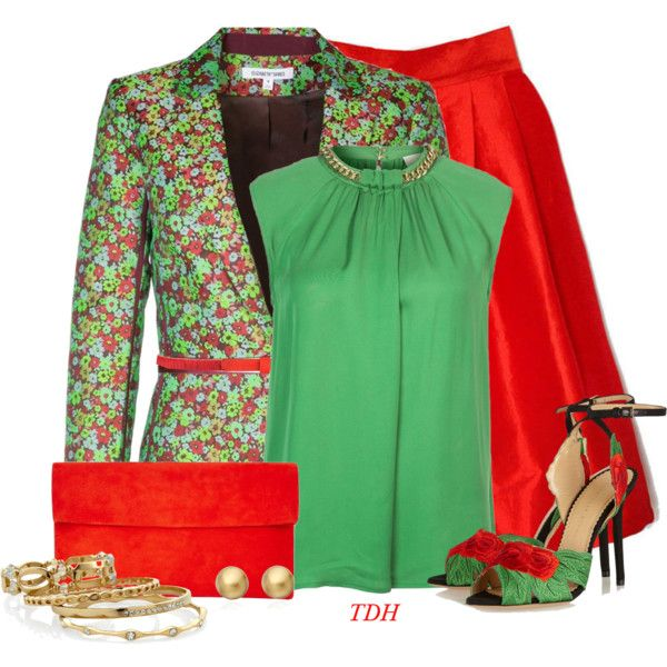 Red & Green by talvadh on Polyvore featuring moda, MICHAEL Michael Kors, Flower Idea, Elizabeth and James, Charlotte Olympia, Comptoir Des Cotonniers, White House Black Market, Astley Clarke and Jigsaw