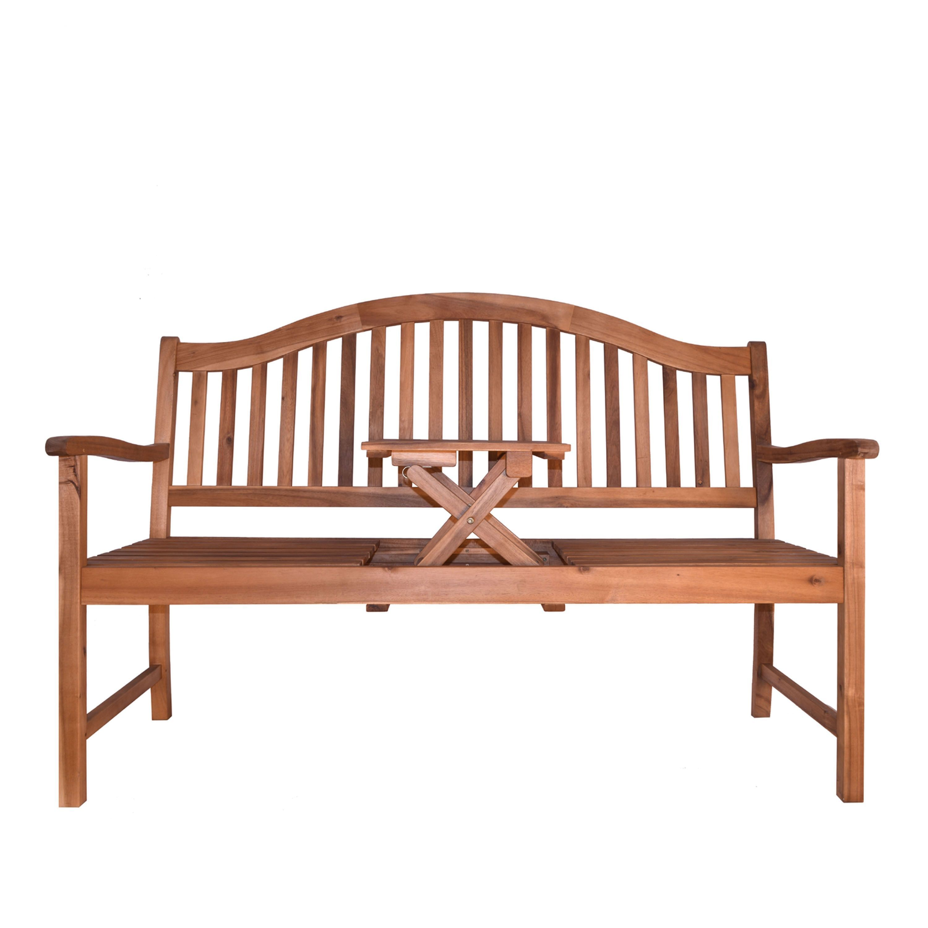 Remarkable Decor Therapy Oasis Outdoor Wood Bench With Center Table Short Links Chair Design For Home Short Linksinfo