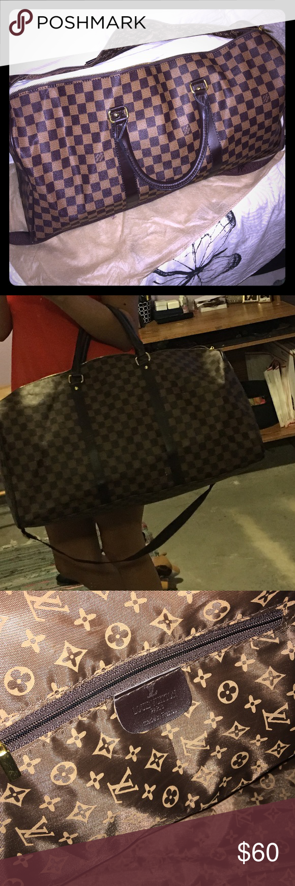 Damier Louis Vuitton duffel. Large Brown Damier travel bag. Comes with strap. Looks but isn't authentic. Zipper does not work. Bags Travel Bags