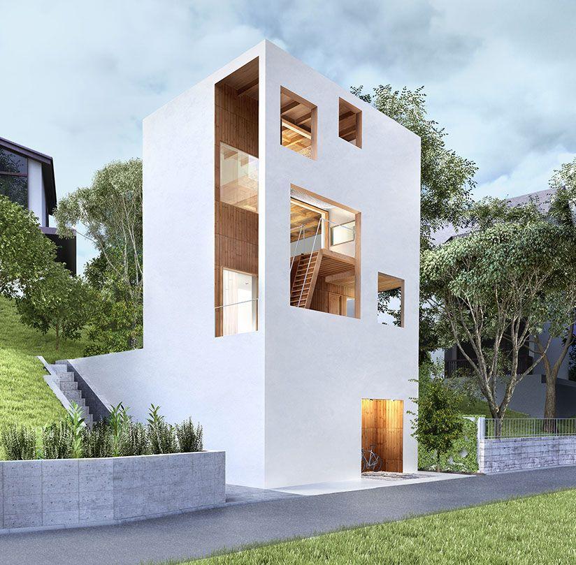 Pinterest fa ades maison moderne et for Mini maison moderne
