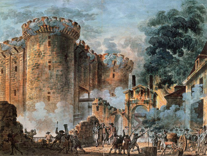 Painting of the storming of the Bastille, 1789 - The ...