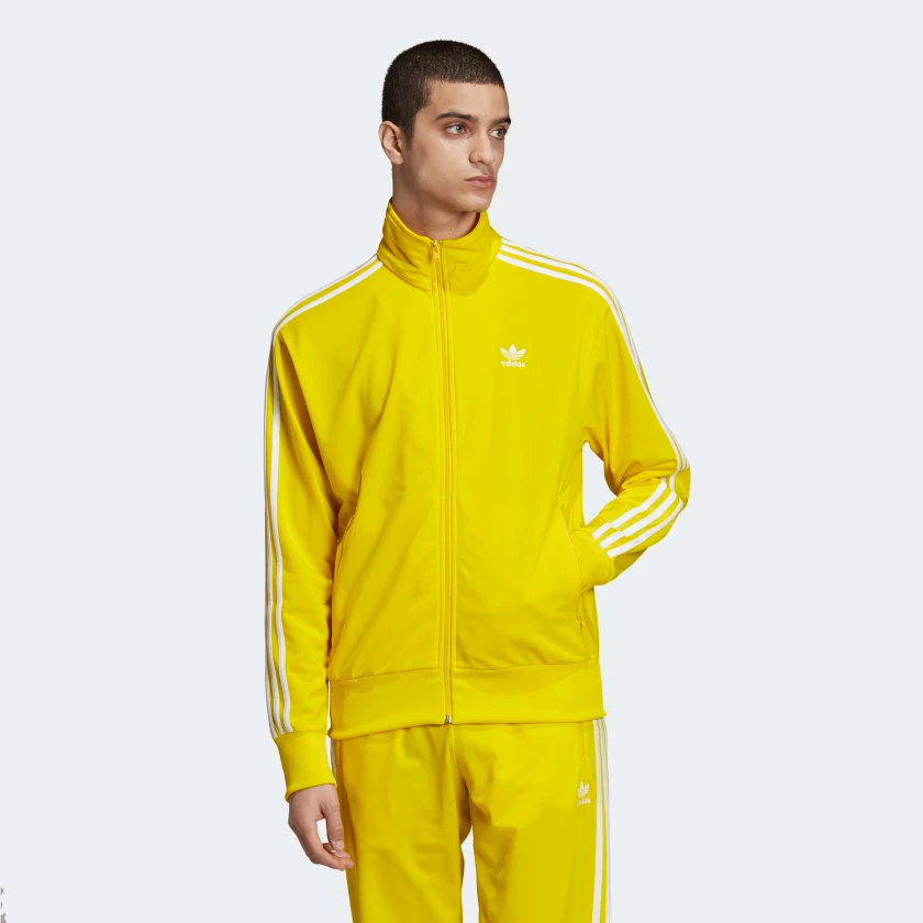 Adidas ORIGINALS ED6073 YELLOW MENS SPORTS SWEATSHIRT FIREBIRD TRACK TOP