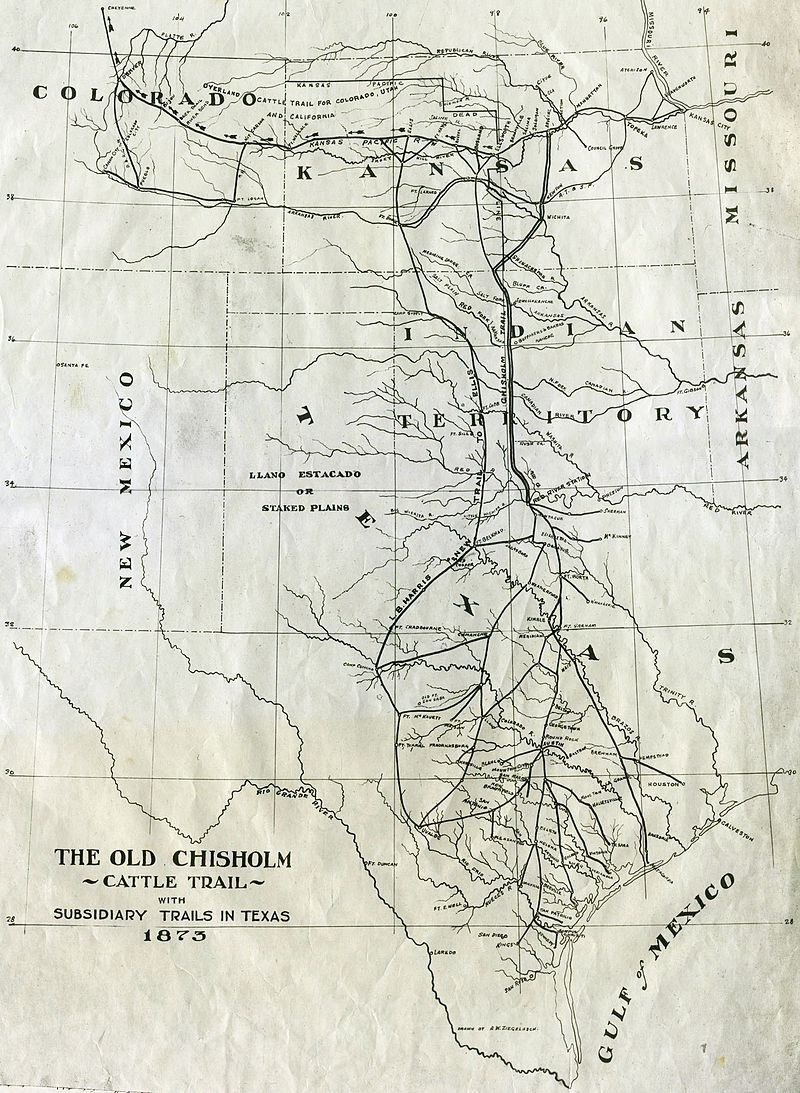 1873 Map Of Chisholm Trail With Subsidiary Trails In Texas Chisholm Trail Wikipedia The Free Encyclopedia Chisholm Trail Map Texas Map